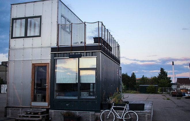 CPH Shelter, Entrance. Copenhagen's First Shipping Container Housing Prototype
